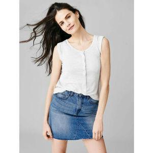 Gap Denim High Rise Raw Hem Mini Skirt 421892